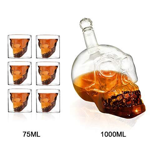 Ahmi Totenkopf Schnapsglas Vodka Whiskey Set 1000ml Flasche mit 6 Totenkopf Gläser 75ml Schädel Wein Gläser Kristall für Bar Party