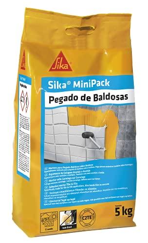 Sika MiniPack Pegado de baldosas, Gris, Adesivo cementoso semiflexible para el pegado de piezas...