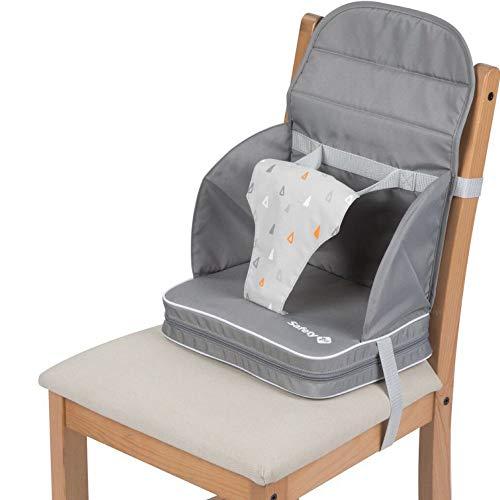 Safety 1st Travel Booster Trona de viaje portátil, Asiento de bebés blando y acolchado, trona plegable y portátil, Warm Grey