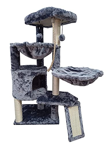 Xin Three Layer Cat Tree with Cat Condo and Two Hammocks,Grey