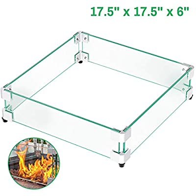 """GASPRO 17.5"""" Square Fire Pit Glass Wind Guard, Clear Tempered Glass Wind Guard 5/16inch Thickness for 28"""" Square Fire Pit Table and 12"""" Square Drop-in Fire Pit Pan-17.5"""" x 17.5"""""""