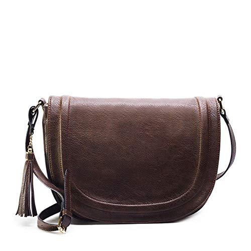 Wip-bag001 Große Satteltasche Umhängetaschen für Frauen Brown Flap Geldbörsenmit Quaste über die Schulter Langen Riemen, Kaffee, Russische Föderation