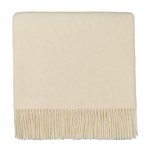 URBANARA 130x190 cm Lammwolldecke 'Miramar' Eierschale — 100% Reine Lammwolle — Ideal als Überwurf, Plaid oder Kuscheldecke für Sofa und Bett — Warme Wolldecke mit Fransen