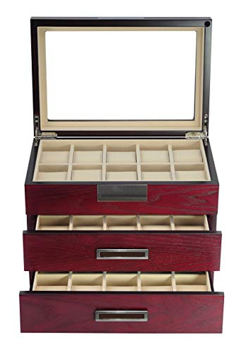 TimelyBuys Luxury 30 Cherry Wood Watch Box Display Case 3 Level Storage Jewelry Organizer with Glass Top, Stainless Steel Accents, 2 Drawers for Closet, Dresser or Vanity Father's Day