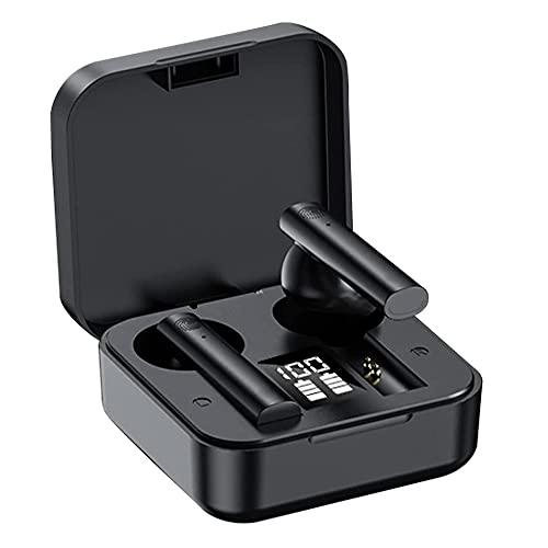 Auriculares Bluetooth, intrauditivos Bluetooth 5.0 inalámbrico con funda de carga rápida, micrófono incorporado, control táctil, IPX7 impermeable, 25 horas de reproducción (negro)