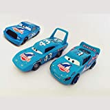 fashionmore 3PCs Cars Movie Toys Dinoco Lightning McQueen & Blue Chick Hicks & The King Diecast Toy Cars 1:55 Loose Kids Toys Vehicles McQueen Car