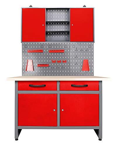 Ondis24 Werkstatteinrichtung rot 3 teilig Werkstatt Werkbank Werzeugschrank Eurolochung Arbeitshöhe 85 cm