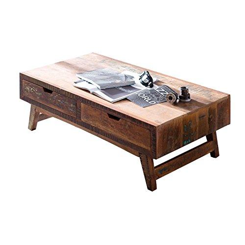 MÖBEL IDEAL Couchtisch Malm Tisch aus recyceltem Massivholz Stubentisch 70 x 135 cm Bunt Used Look