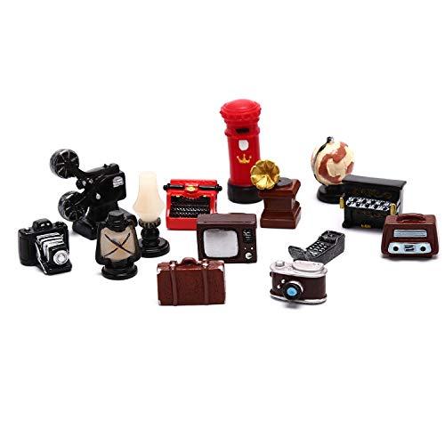 13 PCS Puppenhaus Möbel Ornament, empfindlichen Weinlese-Miniatur-Puppenhaus Dekorative Innenausstattungsartikel, Mini-TV, Klavier, Kamera, Radio, Plattenspieler-Modelle, Pretend Play Spielzeug for Ki