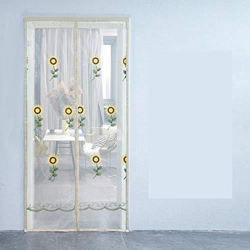 TTXP Patrón De Girasol Beige Mosqueteras para Puertas 120x210cm / 47x82inches Mosquiteras Magneticas Puertas Mantiene los Insectos y Mosquitos Fuera,Fácil de Montar sin Taladrar