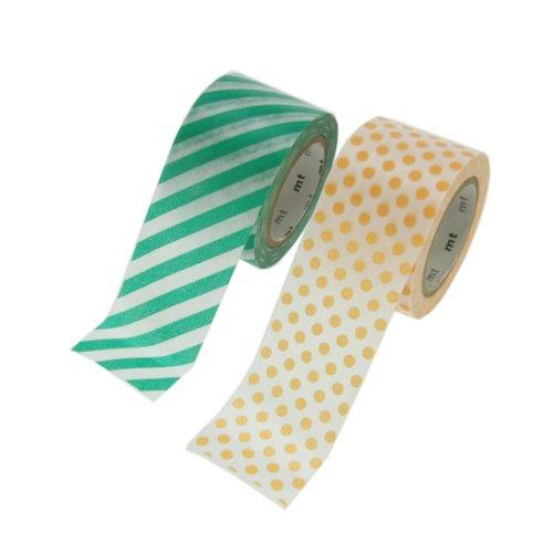 Mt Masking Tape L, a pois, a righe, colore: albicocca Washi-Nastro decorativo, colore: verde
