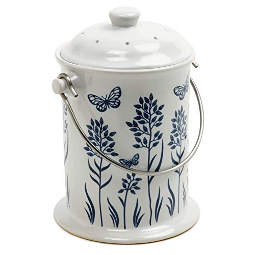 Norpro Ceramic Floral Blue/White Compost Keeper, 3-Quart