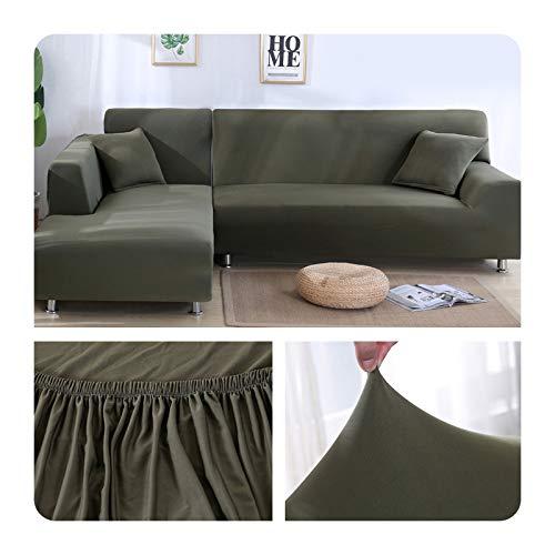 ZaHome Funda elástica de sofá para sala de estar, esquina en U, funda de sofá todo incluido, fundas de sofá en forma de L necesitan comprar 2 piezas - 009-2 plazas y 3 plazas