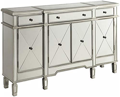 Selling All items free shipping rankings BOWERY HILL 4 Door Mirrored Accent Wine Silver in Sideboard Rack