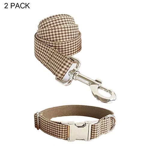 RYDRQF Hundezugseil, Hundehalsband und Leinen-Set, Verstellbare Halsbänder mit Kaffee-Plaid-Aufdruck und Passender Leine für Kleine, Mittelgroße Hunde, Erhältlich in Fünf Größen,Coffeeplaid,L