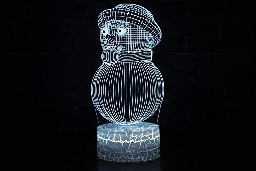 3D visualChristmas Sneeuwman 3D Illusie Lamp Nachtkastje Lamp 7 Kleuren veranderen Touch Switch Bureau Decoratie Lampen Beste Gift Ideeën voor Kinderen Nachtlampje