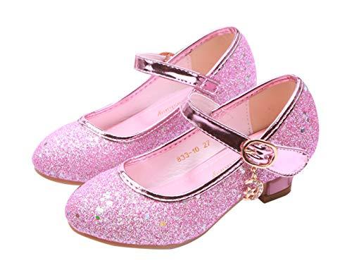 YOSICIL Mädchen Schuhe Prinzessin Schuhe Festliche Schuhe Niedriger Absatz Glitzer Schuhe Kinder Hochzeit Schuhe zum Abendkleid Fasching Halloween Karneval Tanzball Party Lila Pink Silber Blau