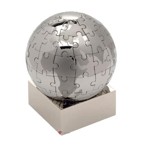 eBuyGB Globe Jigsaw Puzzle Paperweight Executive Desk Ornament Boxed Gift, Paper, Silver