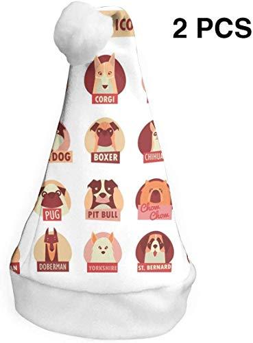 Aeykis Weihnachtsmützen 2er Pack Hunderasse Icon Set Weihnachtsmützen Kostüm Classic Mütze für Kinder / Erwachsene S