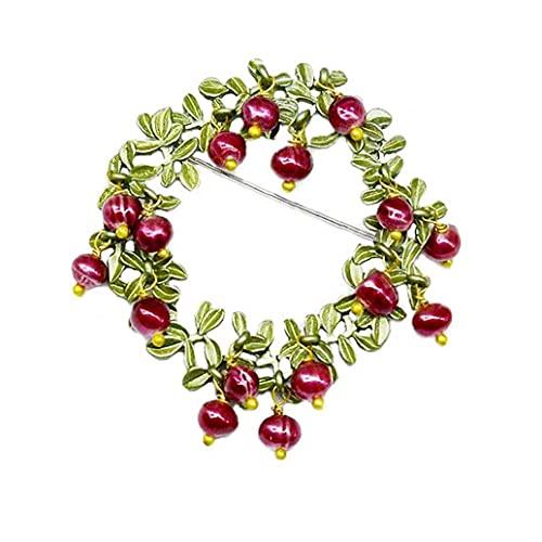 Flor Hoja vestido retro broche de moda incrustaciones de perlas hojas de arándano Diseño Guirnalda Ramillete simulado broche de la perla Clip fular pernos para la Mujer Las niñas broche exquisito