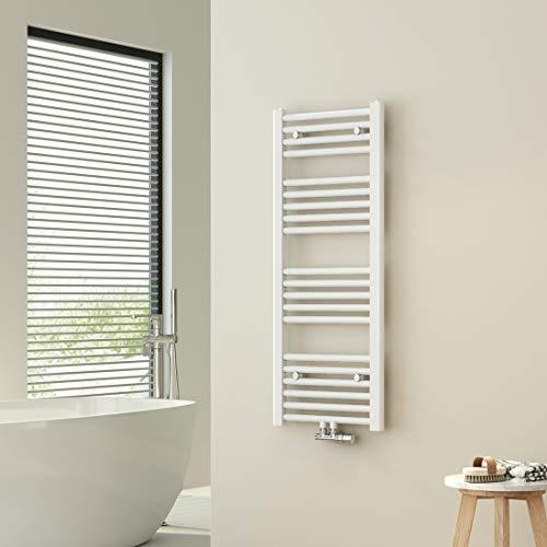 WELMAX Weiß Badheizkörper 40 x 100 cm Handtuchtrockner 481 Watt Leistung Heizkörper Bad Mittelanschluss Handtuchheizkörper