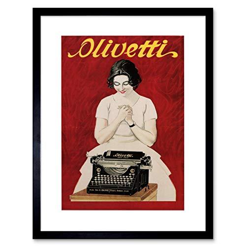 Wee Blue Coo Ad Olivetti Typewriter Vintage Italy Framed Wall Art Print Vintage ▾ Italia Parete