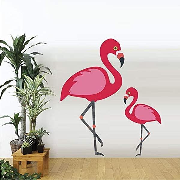 RONGAN Flamingo Animals Wall Stickers Girls Nursery Room Decals Living Room Art Murals Removable Vinyl Wallpaper Home Decor