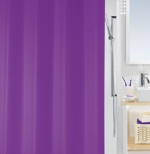 Spirella Anti-Schimmel Duschvorhang Lila Bio Anti-Bakteriell, Waschbar, Wasserdicht PEVA 180x200cm Bunt Weiß
