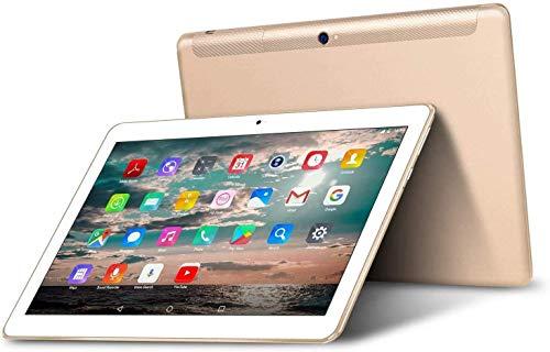 Tablet 10 Pollici - TOSCIDO Android 10.0,Quad core,4G LTE Dual Sim Carta,64 GB Memoria,RAM 4 GB,WiFi/Bluetooth/GPS/OTG,Suono Stereo con Doppio Altoparlante – Gold