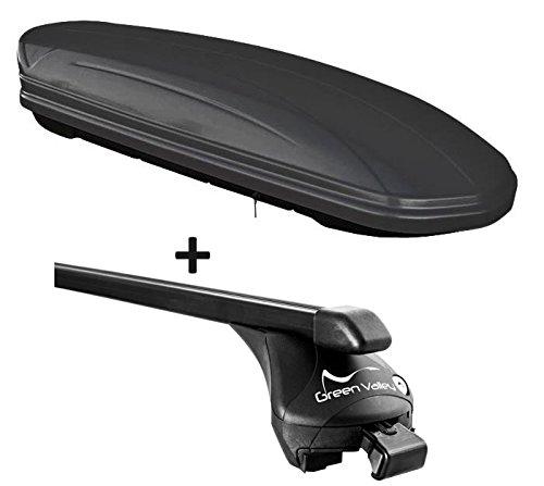 VDP Dachbox schwarz matt MAA 460M Auto Dachkoffer 460 Liter abschließbar + Relingträger Dachgepäckträger für aufliegende Reling im Set für Ford Focus III Kombi ab 2011 bis 100kg