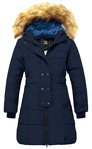 ZSHOW Girls' Long Winter Parka Coat Warm Fur Hooded Puffer Jacket(Navy Blue,10/12)