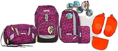 Ergobag - Schulranzen Set 6 tlg. PACK - Nachtschw B inkl. Sporttasche und Seitentaschen (3tlg.) (Orange)