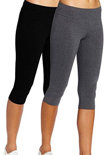 iloveSIA Leggings Mädchen Schwarz&Grau Joggings Hose Legging Damen Tights Capri Yoga Gym,S