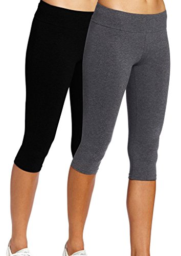 iloveSIA Leggings Mädchen Schwarz&Grau Joggings Hose Legging Damen Tights Capri Yoga Gym,S