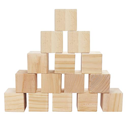 Belle Vous Cubos de Madera (Pack de 15) - Bloques Madera Natural sin Acabado (5x5x5cm) - Cubo Madera Lijado Suave para Bloques de Fotos, Suministros Manualidades, Proyectos Puzzle, Juguetes