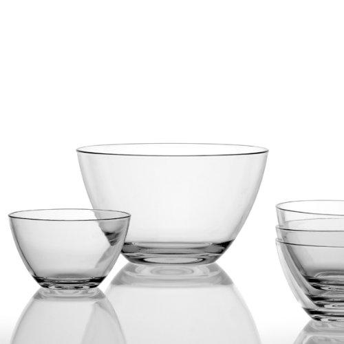 Leonardo Schalenset Active, 5-teiliges Set, 1 große Schale 3,35 l und 4 Schälchen 630 ml, Klarglas, 020585