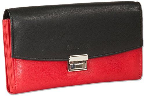 Rimbaldi® - Profi-Kellnerbörse mit extra verstärktem Hartgeldfach aus weichem, naturbelassenem Rinderleder in Schwarz/Rot Kombination, Rot
