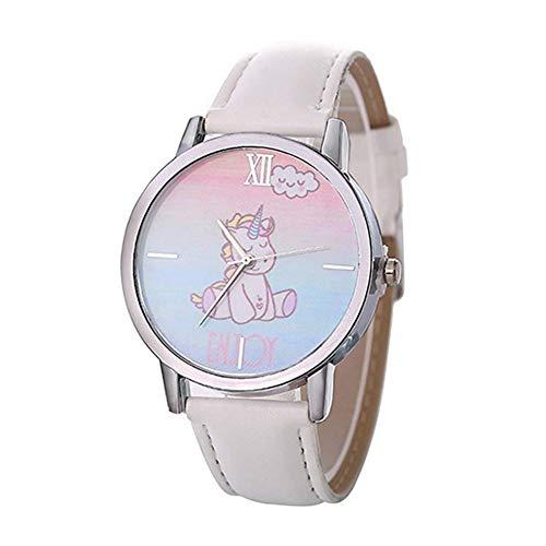 Ouken Reloj De Pulsera para Chicas Analógica Reloj De Cuarzo con Cuero del Brazalete del Unicornio De Dibujos Animados Patrón Reloj Ocasional Reloj De Pulsera para Girl-Blanco