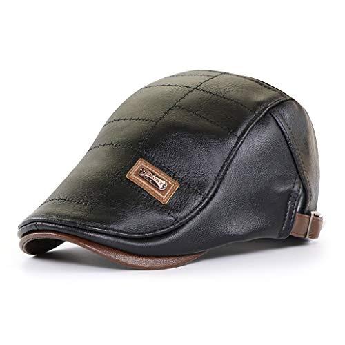 FayTop Men's Vintage Newsboy Cap PU Leather Ivy Flat Gatsby Hat Winter Golf Driving Hats Beret Caps 15713-Black