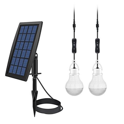 Bombilla LED portátil de 10 W con energía solar, ahorro de energía, lámpara de foco colgante de luz nocturna con panel solar para exteriores, senderismo, acampada, tienda de pesca, iluminación