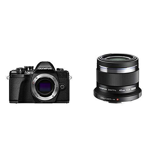 Olympus E-M10 Mark III Fotocamera Digitale, Nero + Olympus V311030BE000 M.Zuiko Digital Obiettivo 45mm 1:1.8, Micro Quattro Terzi, per Fotocamere OM-D e PEN, Nero