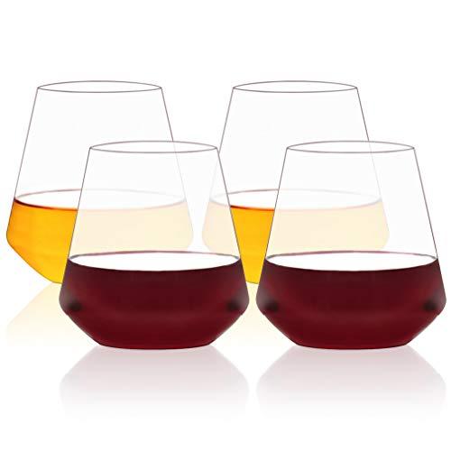 MICHLEY Unzerbrechliche Weingläser Tritan-Kunststoff Bruchsicher Trinkglas, Wassergläser, gläser fur Camping Party, 500ml, 4er Set