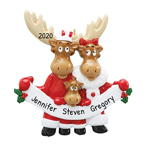 Personalized Moose Family of 3 Christmas Tree Ornament 2020 - Parent Child Deer Elks Red Santa Attire Ribbon Cute Winter Holiday Kid Grand Gift Tradition Gift Year - Free Customization (Three)
