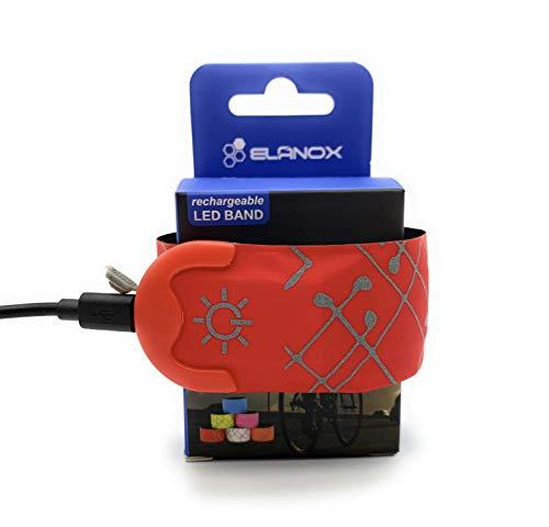 ELANOX LED Armband Leuchtband für Sport Outdoor Reflektorband Sicherheitslicht Slap Band für Fahrradfahren Joggen Kinderwagen (wiederaufladbar 1 St. rot)
