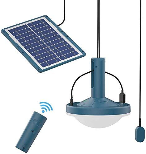 AmpTorrent Solar Lights Outdoor Garden, IP68 Waterproof Solar Outdoor Lights, Pendant Light with Solar Panel Remote Control 300Lumn Brightness Adjustment Solar Shed Light for Home Garden
