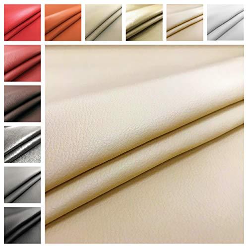 Tejido de cuero sintético de lujo, vendido por medio metro - 50 CM (Largo) x 140 CM (Ancho FIJO); 1 cdta. = 50cm; 2 cdta. = 100cm - para amueblar sofás, sillas, bolsos y tapicería.