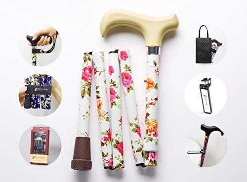 Merry Sticks, bastón Plegable Ajustable de diseño, Flores Crema, Incluye una práctica Bolsa para su bastón y un Soporte para Bastones Reflectante Inteligente