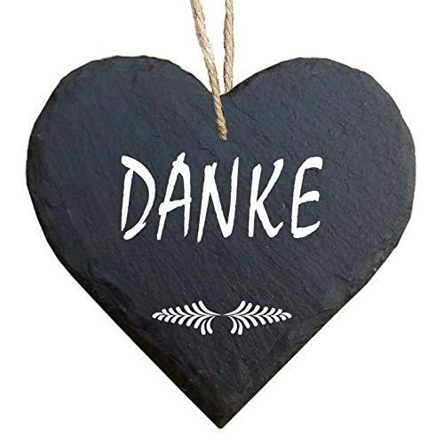 Homeyourself Herz Schieferherz Schiefer Schieferschild 10 x 10 cm Danke schwarz Dekoschild Wandschild Schild Stein Geschenk Dankeschön