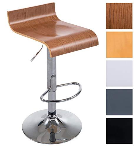 CLP Taburete de Bar Wood con Asiento de Madera I Taburete Alto Regulable en Altura& Giratorio I Color: Nogal