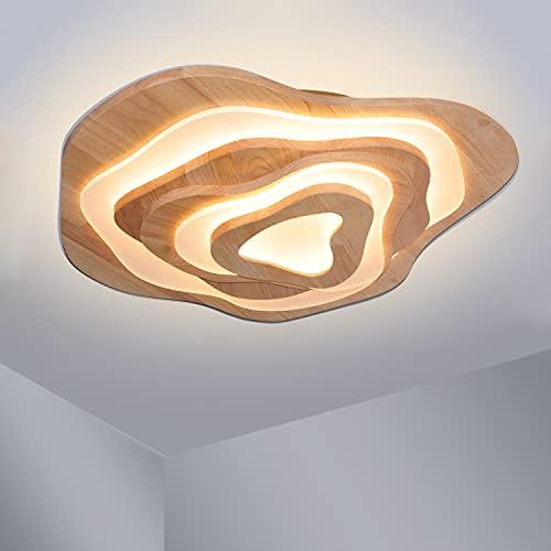 LED Deckenleuchte Holz 3-Etage Wohnzimmer Deckenlampe 3000K Warmweiß -50W - 3500lm - Ø60cm Geölt Eiche Deckenlampe Schlafzimmer Ring Dekorativ Irreguläres Designlampen Wohnzimmer Lampe